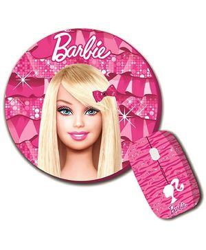 Barbie Combo Of Wireless Mouse And Mouse Pad
