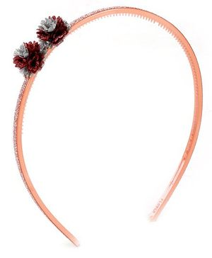 Fab N Funky Hair Band Pink Flower Applique
