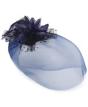 Fab N Funky Alligator Hair Clip With Flower Embellishment - Navy Blue