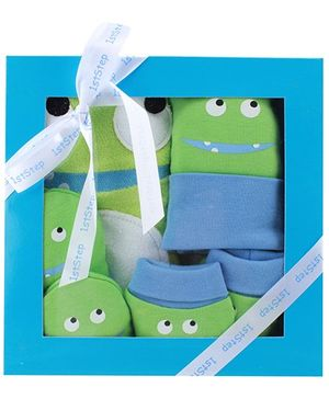 1st Step Green Plain Baby Gift Set - Pack Of 4