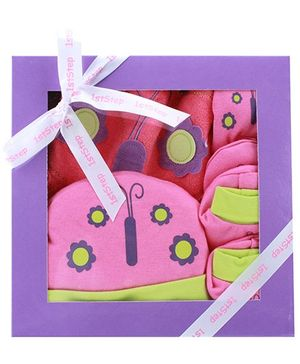 1st Step Pink Butterfly Print Baby Gift Set - Pack Of 4