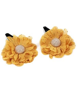 Fab N Funky Flower Applique Snap Clip - Yellow
