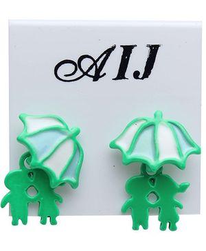 Fab N Funky Umbrella Design Earring With Couple Dangler - Green