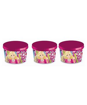 Barbie Printed Ice Cream Cup With Lid Set Of 6 - Pink