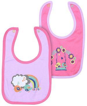 FS Mini Klub Set Of 2 Pink Bibs Rainbow Print