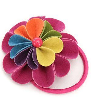 Hopscotch Multi Color Felt Flower Rubber Band