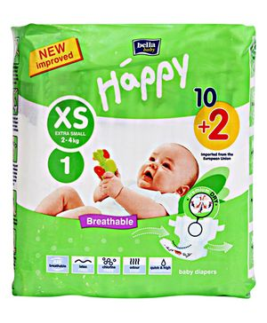 Bella Baby Happy Diapers Extra Small - 12 Pieces