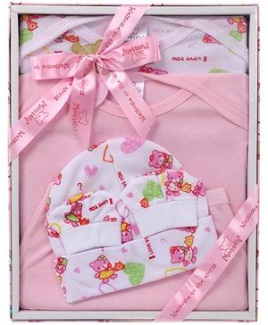 Montaly Baby Gift Set Teddy Print - Pink