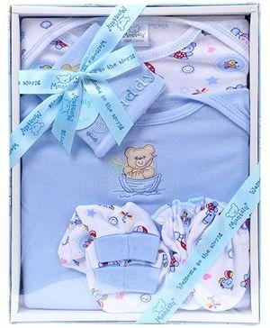 Montaly Baby Gift Set Fishing Bear Print Blue - Set of 5
