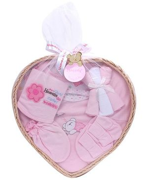 Montaly Baby Gift Set Bear and Sweet Dream Print Pink - Set of 9
