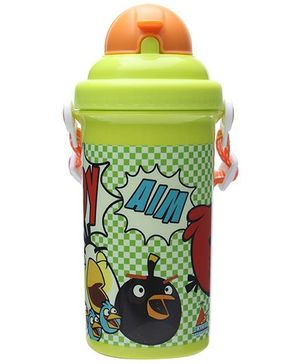 Angry Birds Classic Green Straw Water Bottle - 500 ml