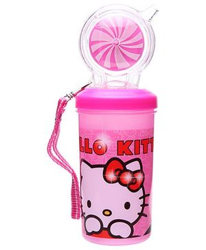 Hello Kitty Water Bottle with Circular Straw Pink - 500 ml