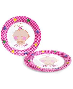 Laminated Paper Plate Circular Shape Baby Girl Off White - Pack Of 10