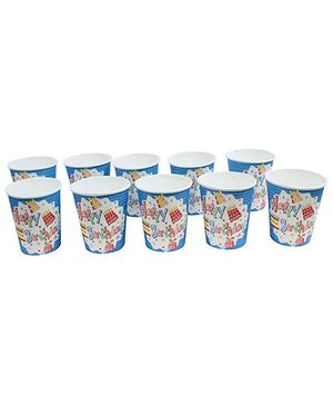 Paper Cups Happy Birthday Printed  Blue  - Pack of 10