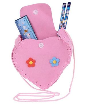 Pen Holder with Stationery Set Heart Shape - Blue and Pink