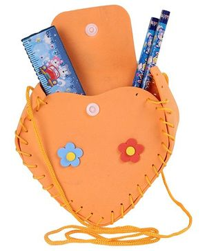 Pen Holder with Stationery Set Heart Shape - Orange