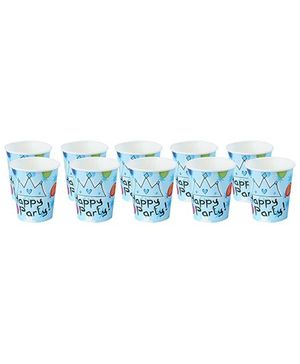 Paper Cups Stars And Balloons Print Sky Blue - Pack of 10