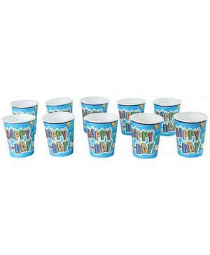 Paper Cups Happy Birthday Print Blue - Pack of 10