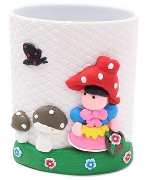 Pencil Holder Doll and Mushroom Figurine - White