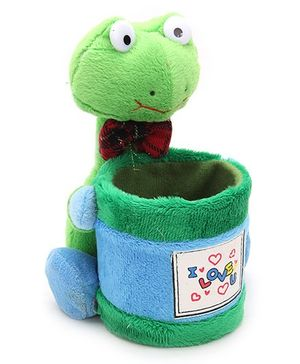 Pencil Holder With Soft Toy Green