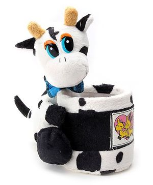 Pencil Holder Cow Soft Toy with Deer Print - Blue Bow