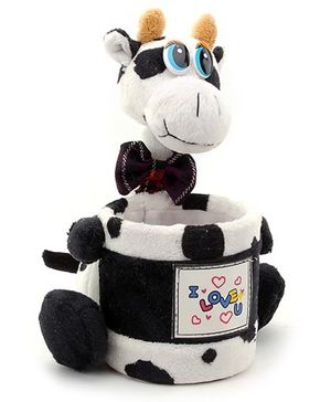 Pencil Holder Cow Soft Toy with I Love You Print - Purple Bow