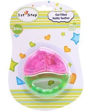 1st Step Gel Filled Rattle Teether Fruit Shape - Pink