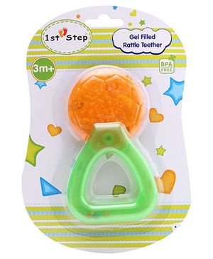 1st Step Gel Filled Rattle Teether Football Shape - Orange
