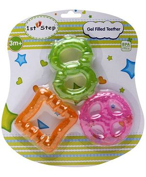 1st Step Gel Filled Teether Orange Square - Set of 3