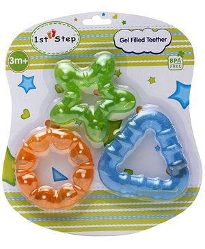 1st Step Gel Filled Teether Green Star - Set of 3