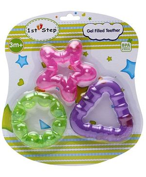 1st Step Gel Filled Teether Pink Star - Set of 3
