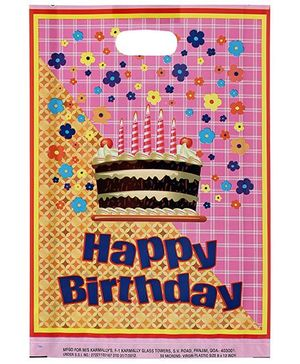 Karmallys Printed Happy Birthday Bag- Pink and Yellow