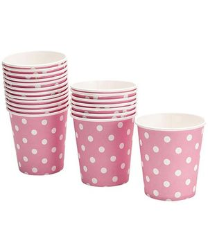 Karmallys Paper Cups with Pink Polka Dot Print - 200 ml