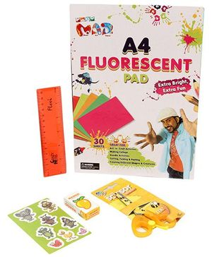 Chitra Art and Craft Pogo Mad A4 Fluorescent Pad- 30 Sheets