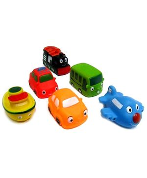 Marbles Squeeze Transport Vehicles Shaped Bath Toys - Set of 6