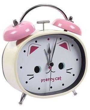 Fab N Funky Pretty Cat Print Alarm Clock- Pink and Cream