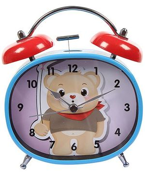 Fab N Funky Bear Print Alarm Clock- Blue and Red