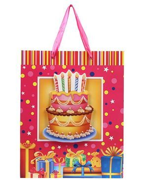 Fab N Funky Cake and Candles Print Gift Bag- Pink