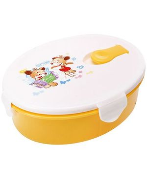 Fab N Funky Printed Lunch Box with Spoon - Yellow