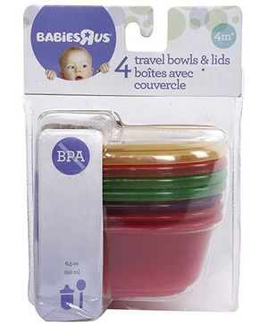 Babies R Us Multi Colour Travel Bowls With Lid - Set of Four