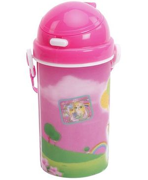 Fab N Funky Girl Printed Water Bottle - Pink