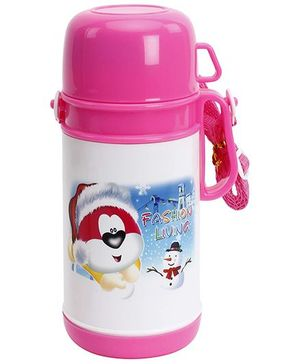Fab N Funky Pink Water Bottle with Cup - 500 ml