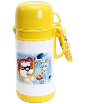 Fab N Funky Yellow Water Bottle with Cup - 750 ML