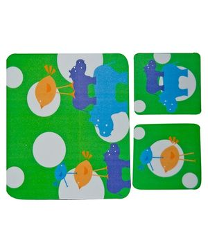 Fly Frog Hippo Printed Mouse Pad And Coasters
