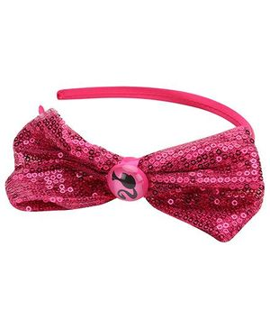 Barbie Black Hair Band With Sequins Bow - Pink