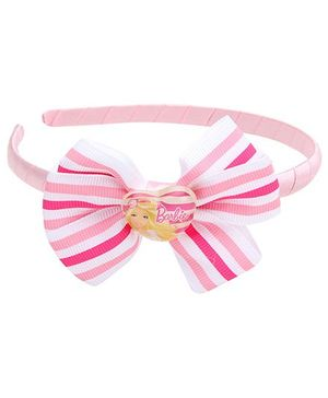 Barbie Black Hair Band With Stripes Print Bow Applique - Pink