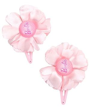 Barbie Snap Clips Pink With Flower Design - 1 Pair
