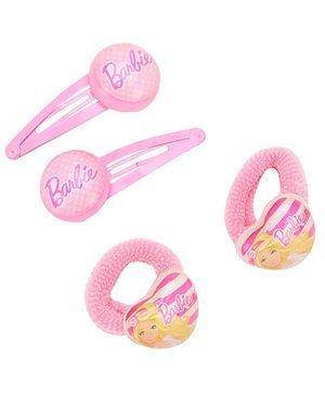 Barbie Combo Set Pink - 2 Snap Clips And 2 Rubber Bands