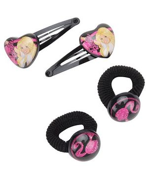 Barbie Combo Set Black - 2 Snap Clips And 2 Rubber Bands