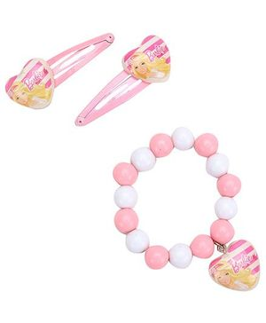 Barbie Combo Set Pink - 2 Snap Clips And 1 Bracelet